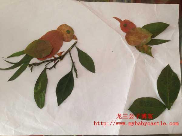 我与儿子共同完成的树叶贴画作品《两只鸟儿》